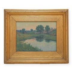 1893 American Tonalist Impressionist Moonlit Landscape
