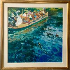 Swan Boat in the Boston Public Garden - American Art Colourful Figurative Genre