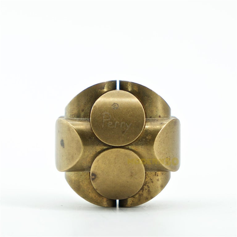 Vintage Charles O. Perry brass ball puzzle sculpture, USA, circa 1980s. Originally designed in the 1960s. Precision craftsmanship, mathematical design. Can be dis-assembled and re-assembled. Signed by artist. Pedestal not included. Measures: