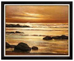 Charles Pabst Original Oil Painting On Canvas Signed Large Seascape Sunset Water