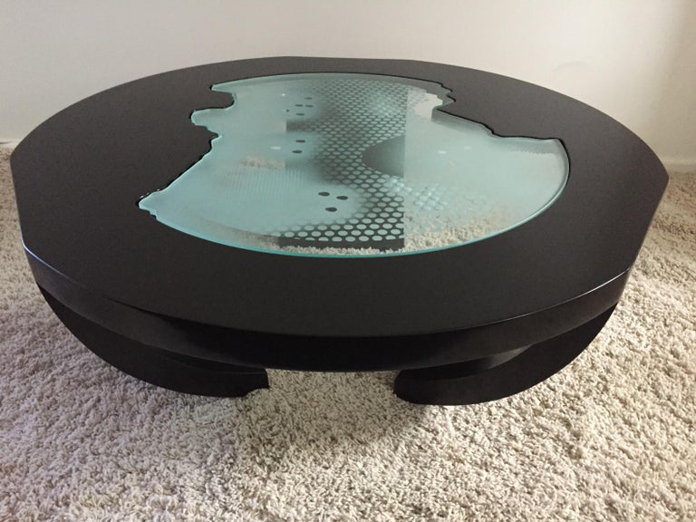 Mid-Century Modern Charles Pace Black Lacquer Etched/Engraved Glass Top Custom Coffee Table For Sale