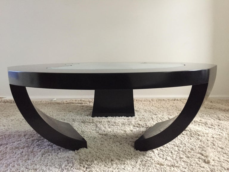 Lacquered Charles Pace Black Lacquer Etched/Engraved Glass Top Custom Coffee Table For Sale