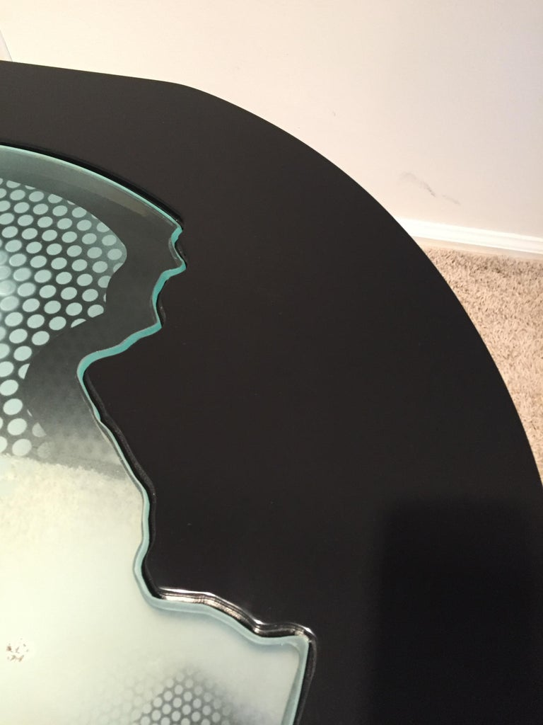 20th Century Charles Pace Black Lacquer Etched/Engraved Glass Top Custom Coffee Table For Sale