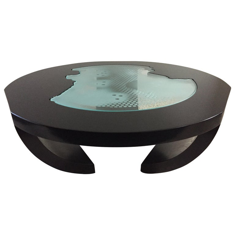 Charles Pace Black Lacquer Etched/Engraved Glass Top Custom Coffee Table For Sale