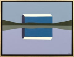 Blue Barn Reflected - navy, purple, landscape, abstracted, acrylic on canvas
