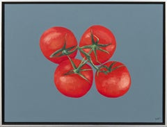 Four Tomatoes - red, blue, still life, abstracted, pop-art, acrylic on canvas