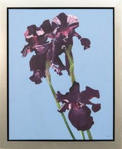 Irises - purple, blue, flowers, pop-art, contemporary, acrylic on canvas