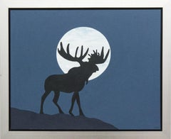Lunar Moose - pop-art, Canadiana, iconic, contemporary, acrylic on canvas