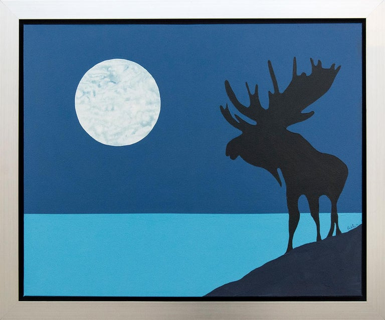 The moose in silhouette is one of Charles Pachter's most loved and iconic images. Depicted against a cerulean sky, this moonlit moose stands proudly on a Canadian northern shoreline. The painting reflects the artist's skill in merging playful