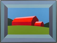 Red Barn Green Field - landscape, abstracted, pop-art, acrylic on canvas