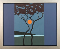 Sumach Moon - blue, orange, trees, moon, graphic, pop-art, landscape, acrylic