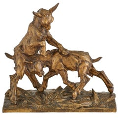"Charles Paillet ""Medaille D'or"" Bronze of Two Playful Goats"