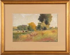 Hudson River School Cow Landscape Signed Fall Farm Field Oil Painting