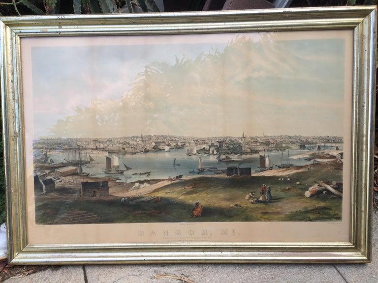 BANGOR, Me. 1854 - Very Large Bird's Eye View - Print by Charles Parsons
