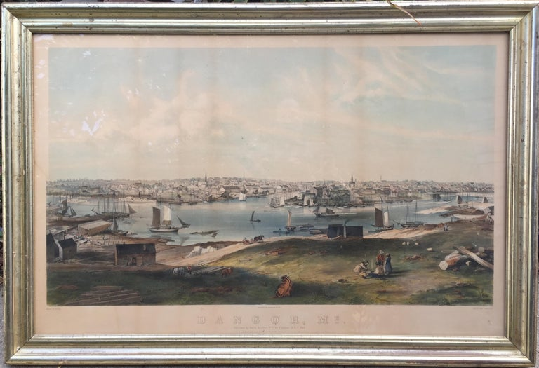Charles Parsons Landscape Print - BANGOR, Me. 1854 - Very Large Bird's Eye View