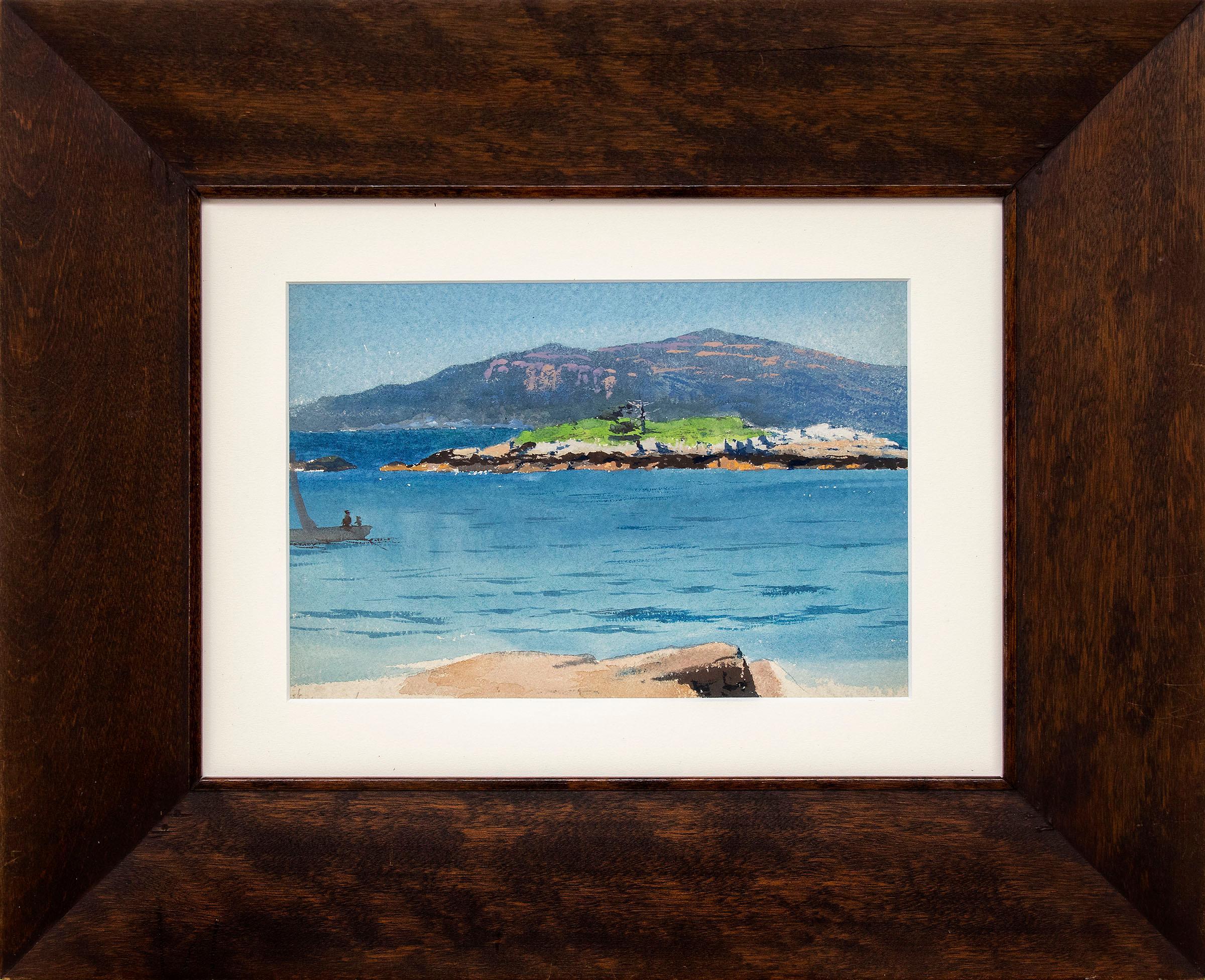 California Coast Landscape Marine Painting, Pacific Ocean, Rocks, Hills