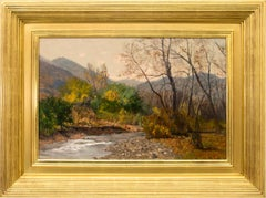 Clear Creek, Colorado Mountain Landscape with River, Brown Gold Green Blue White
