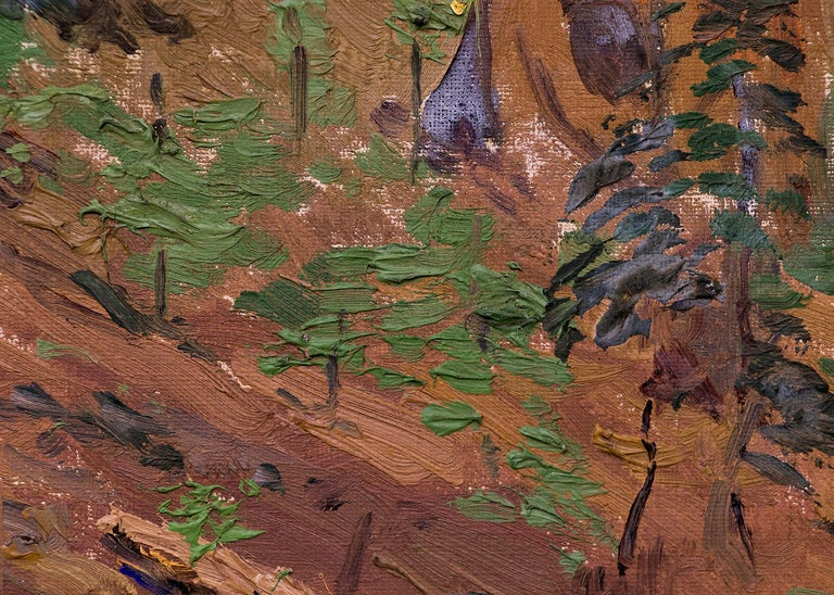 Charles Partridge Adams (1858-1942), Redwood Trees, California landscape painting, forest interior, vintage oil on board painting, circa 1930. Oil on board, not signed, letter of authenticity from the artist's estate. Presented in a custom frame