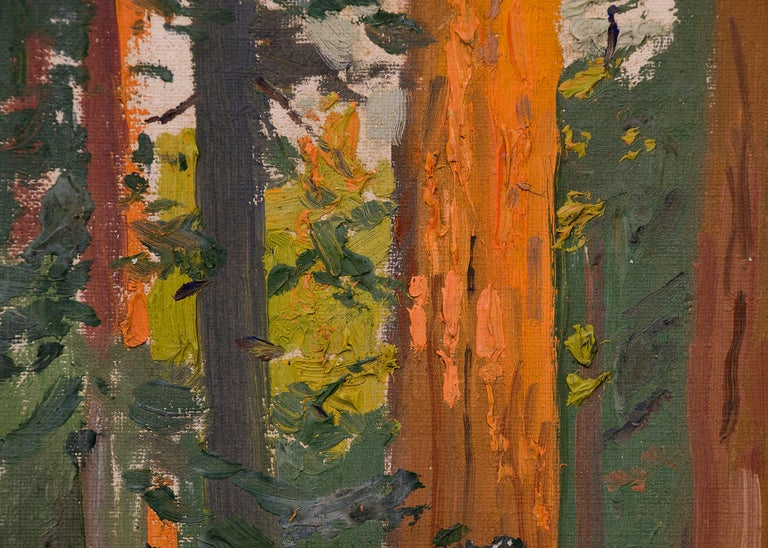 Interior Forest Scene with Redwood Trees, California, Landscape Oil Painting For Sale 1