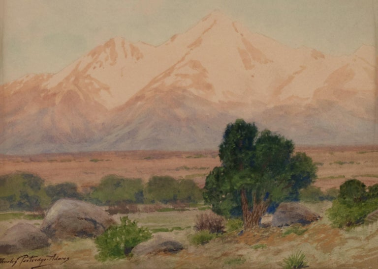 Vintage original antique painting of Mount Princeton, Colorado painted in the early 20th century by Charles Partridge Adams (1858-1942).  Mt. Princeton is part of the Sawatch Mountain Range of the Rocky Mountains, near Buena Vista, Salida, Gunnison