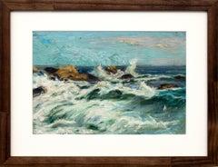 Untitled, Crashing Waves and Rocks, California Coast, Seascape Marine Painting
