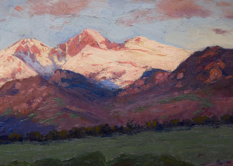 Charles Partridge Adams (1858-1942) original oil painting on canvas of a Colorado mountain landscape with Longs Peak and Mount Meeker from near Estes Park, Colorado (Rocky Mountain National Park). A river in early summer with green valley grass and