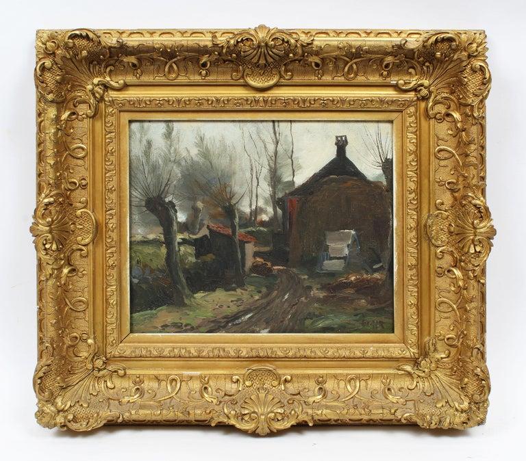 Antique Impressionist Landscape Farm House Signed Original Landscape Painting 1