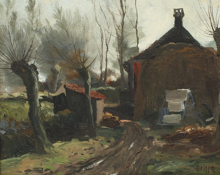 Antique Impressionist Landscape Farm House Signed Original Landscape Painting 2
