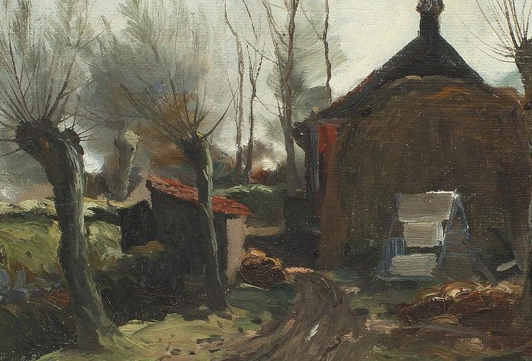 Antique Impressionist Landscape Farm House Signed Original Landscape Painting 3