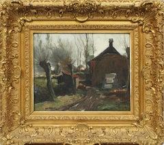 Antique Impressionist Landscape Farm House Signed Original Landscape Painting