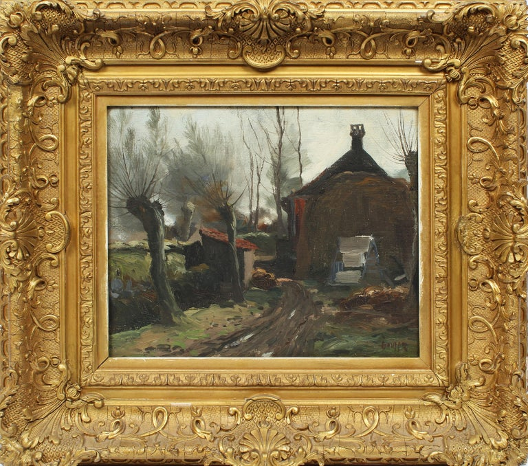 """Impressionist landscape oil painting by Charles Paul Gruppe (1860-1940).  Oil on board, circa 1900.  Signed lower left.  Displayed in a period giltwood frame.  Image size, 11""""L x 9""""H."""