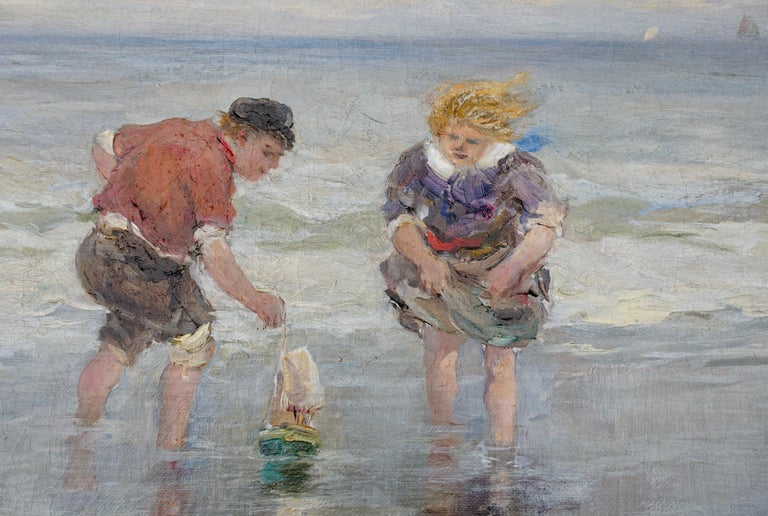 Beaux Arts Charles Paul Gruppe, Children Playing With Sailboat In Waves For Sale