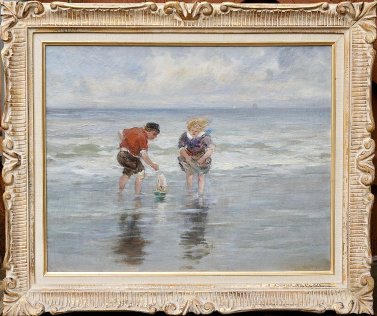 Hand-Painted Charles Paul Gruppe, Children Playing With Sailboat In Waves For Sale