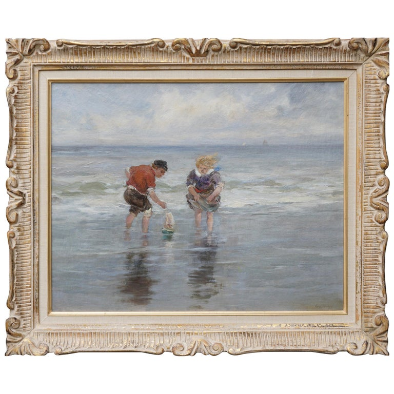 Charles Paul Gruppe, Children Playing With Sailboat In Waves For Sale