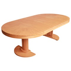 Charles Pfister for Baker Primavera Pedestal Extension Dining Table, Refinished