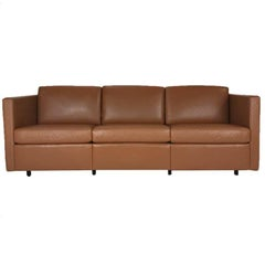 Charles Pfister for Knoll Box Stitched Leather Tuxedo Style Three-Seat Sofa
