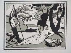 Tribute to Cezanne : The Bathers (Art Deco) - Original wooodcut