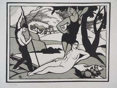 Tribute to Cezanne : The Bathers (Art Deco) - Original wooodcut