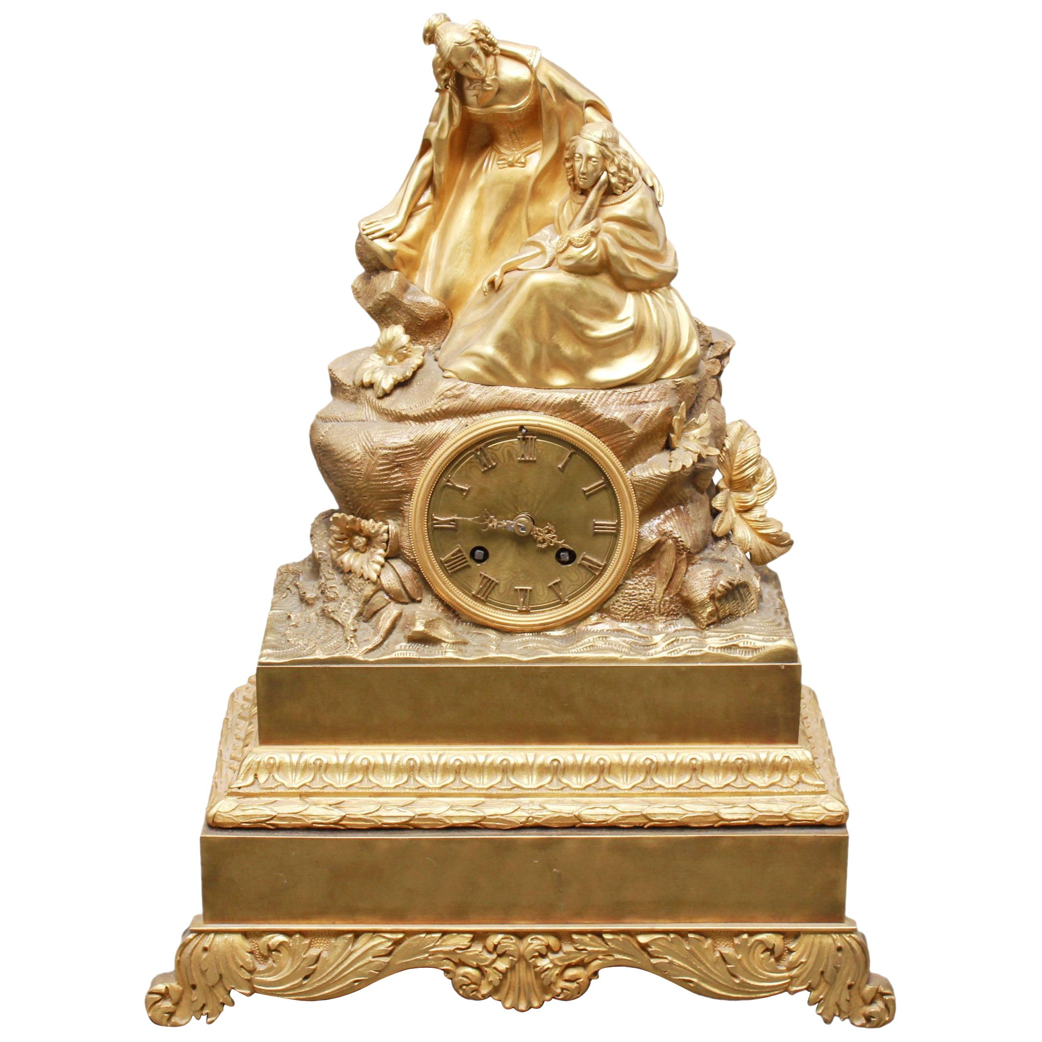 Charles Pickard French Neoclassical Revival Ormolu Gilt Bronze Mantel Clock