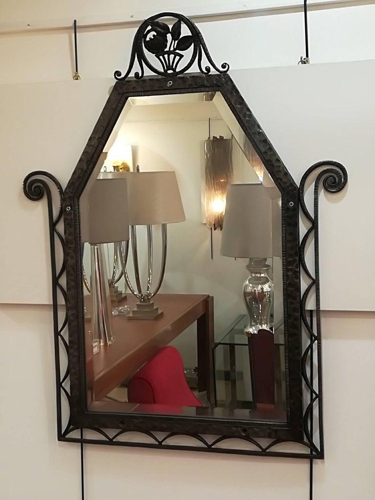 French Charles Piguet Art Deco Wrought Iron Wall Mirror, circa 1930