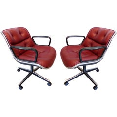 Charles Pollack Modern Executive Swivel Chairs for Knoll, Three Pairs Available