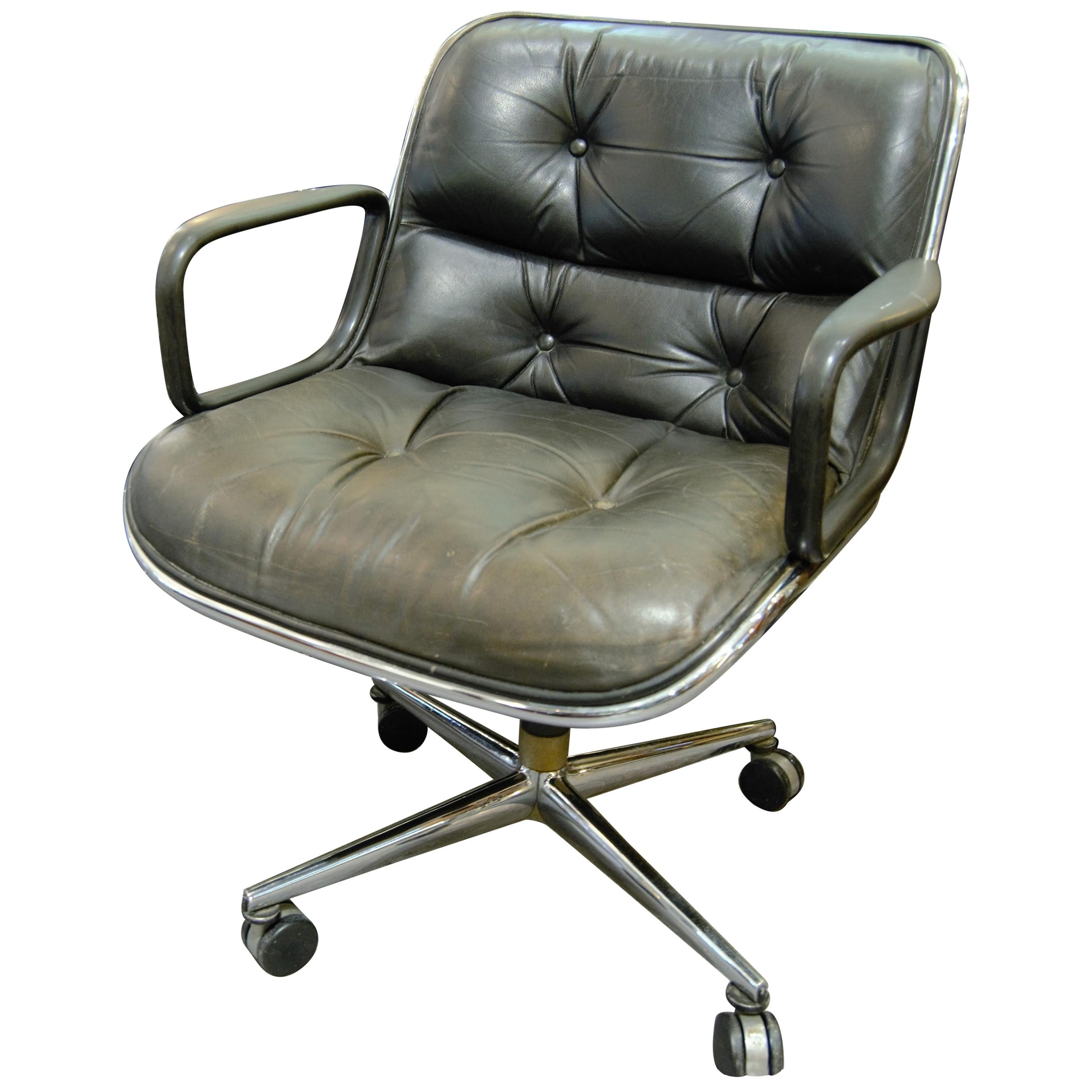 """Charles Pollock, Knoll, Black """"Executive Chair"""" Model Armchair"""