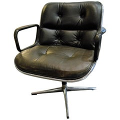 "Charles Pollock, Knoll, Black ""executive chair"" Model Armchair"