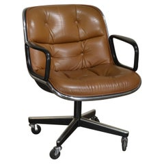 Charles Pollock Cognac Leather Executive Chair by Knoll
