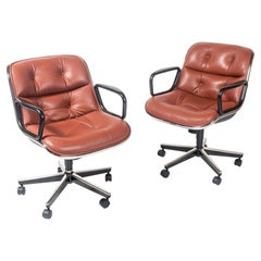 Charles Pollock Executive Chair in Pumpkin Color Sabrina Leather