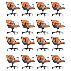Charles Pollock Executive Desk Chairs for Knoll in Cognac Leather