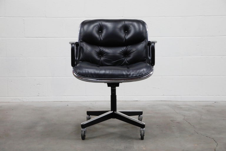 These Charles Pollock for Knoll International executive desk chairs are excellent collectors examples that have been well cared for over the decades, in exquisite black leather in very good to excellent vintage condition with light patina, and