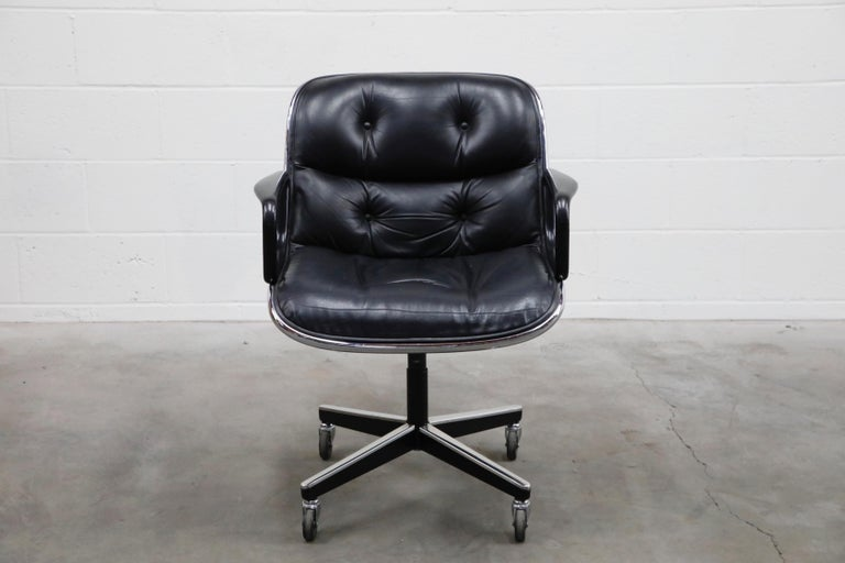 Aluminum Charles Pollock for Knoll International Executive Desk Chair, Signed 1985 For Sale