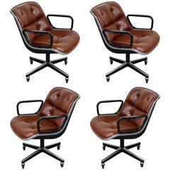 Charles Pollock for Knoll International Leather Executive Desk Chairs, Signed