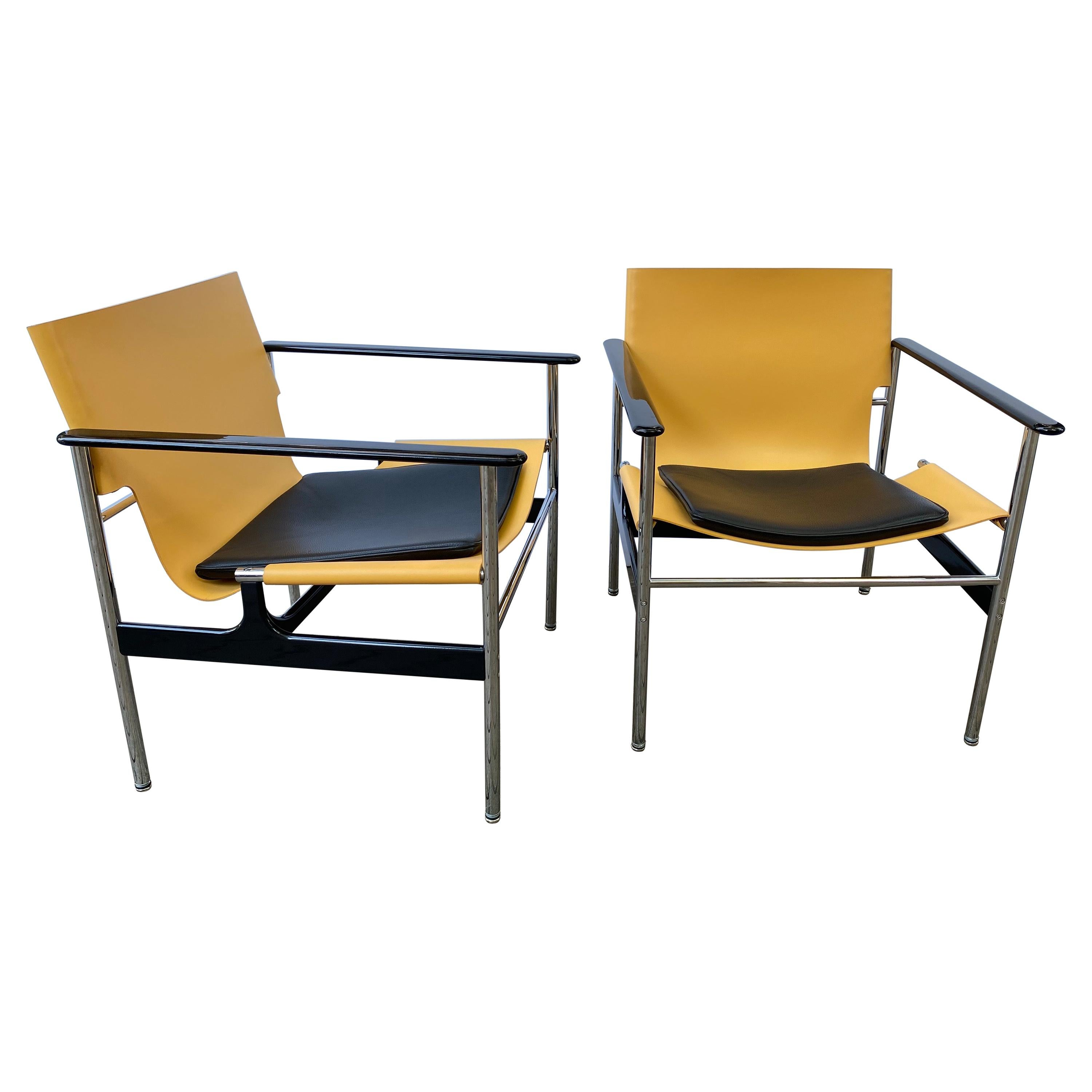 Charles Pollock for Knoll Pair of Leather Sling Armchairs